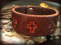 Rustic Brown Leather Bracelet with Cross Pattern by JosephChumchal