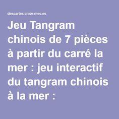 Jeu Tangram chinois de 7 pièces à partir du carré la mer : jeu interactif du tangram chinois à la mer : reconstituer les silhouettes, mathématiques pour la maternelle et... les plus grands