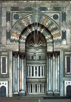 Image EGY 0628 featuring mihrab or quibla wall from the Mosque of Sultan Hassan, in Cairo, Egypt, showing Geometric Pattern using stone inlay or mosaic.
