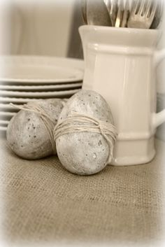 Whitewashed Concrete Eggs, pretty in a wooden bowl or along an outdoor pathway at Easter.