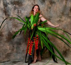 """""""The Birth Of Fashion Revisited"""" project of foliage couture by Louda Larrain inspired by the exuberant nature of Kauai.  Photography: Gilles Larrain (www.gilleslarrain.com) Model: Diana J.Gardner"""