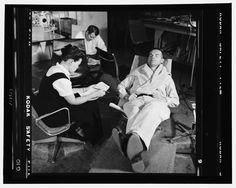 Ray Eames, Charles Eames and model maker Don Albinson at 901 Washington Boulevard, Venice, CA