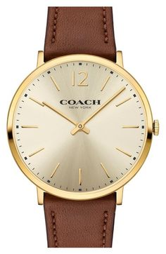 COACH Easton Leather Strap Watch, 40mm available at #Nordstrom