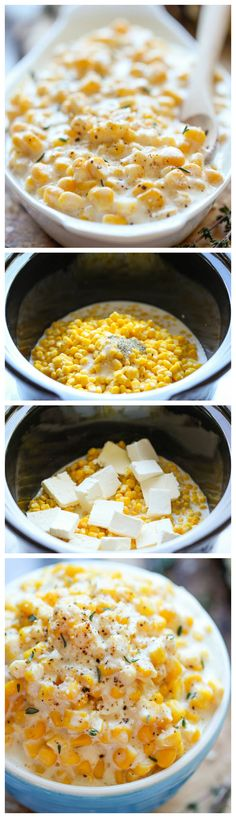 Shut the front door! I love creamed corn! Slow Cooker Creamed Corn - Skipped the canned cream corn this year and make it from scratch right in the crockpot. Its so rich and creamy and unbelievably easy to make with just 5 ingredients! Crock Pot Recipes, Crock Pot Cooking, Slow Cooker Recipes, Cooking Recipes, Easy Recipes, Potato Recipes, Vegetarian Recipes, Chicken Recipes, Healthy Recipes
