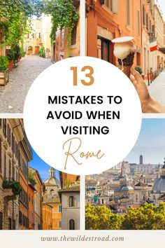If you're planning a trip to Rome, there are a few essential things to know and remember before you set off on your adventure! In this post we list out 13 mistakes every traveler should know about when visiting Rome, from the best and worst season to travel, to food and where to eat and pickpockets and scammers, with tips and tricks from a born and raised Roman! - Rome Travel Guide - Italy Travel Guide - Travel Guide - First Time To Rome Guide - Rome Essentials - Italy Essentials - Rome… Rome Travel, Italy Travel, Rome Guide, Italy Destinations, Camping Essentials, Travel Aesthetic, Rome Italy, Roman Empire, Things To Know