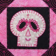Sugar Skull Quilt, Pink by BadBabyQuilts on Etsy, $30.00
