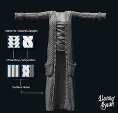 Long Cardigan. All modeled in Zbrush | Hazard Brush