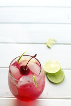 Refreshing Cherry Lime Spritzer, Low calorie, slightly sweet and tangy! Kid friendly, non alcoholic. Super easy party drink!