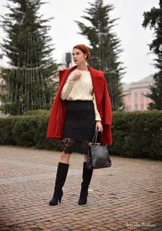 Lace skirt and red coat  #skirt #lace #skirt #looks #elegant #chic #outfit