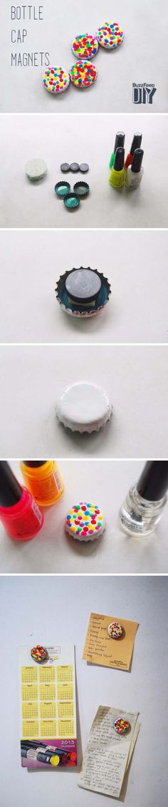 DIY Back to School Projects for Teens and Tweens Upcycle Bottle Caps and use your favorite Nail Polish Colors - DIY Confetti Locker Magnets Tutorial via The Pink Doormat