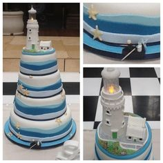 Nautical themed wedding cake with lighthouse topper - Cake by Tickety Boo Cakes