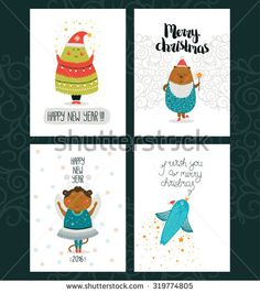 Merry Christmas and Happy New year cards with cute animals, bear, monkey, tree, bird and Typographic Wish. Set of cute Greeting cards on white backgrounds