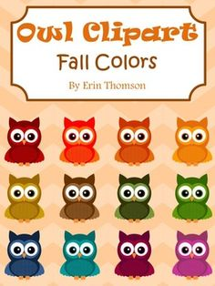 This clip art pack contains 12 colored owls and 1 black and white line owl.All images are PNG formatted files. The colored owls have transparent backgrounds. The line owl has a white background. Images can be used for personal and classroom use. Please credit me if used in a TpT product.