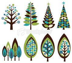 Stock Vector Art & Illustrations: Funky Retro Christmas Trees - iStockphoto.com