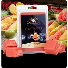 A mouthwatering array of candied citrus fruits. Infused with natural essential oils Grapefruit and Tangerine.  Great for your tart warmer, candle warmer, potpourri pot or other electric warmer. Requires a warmer to melt the wax. Each package of wax tarts contains 1 piece of jewelry.   - See more at: https://www.jewelryincandles.com/store/jic-hanbury-store/p/180:c:96/fruit-basket/fruit-slices-tarts/#sthash.KRQbiEiq.dpuf