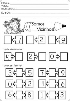 Atividades com números vizinhos School Worksheets, Writing Worksheets, Spanish Exercises, Subtraction Worksheets, Montessori Math, Primary Maths, Stem Science, Basic Math, Math For Kids