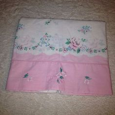 VTG Pillowcase Pink Floral Shabby Girly Rose 50s Retro Embroidered Bedding Chic