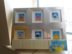 Colourful original paintings in these small frames (8x9cm) at £8.50 each. Frames are made to stand on their own or flat to the wall like a boxed canvas.