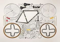"""Artist Todd McLellan neatly lays out parts of disassembled objects for his impressive collection of works called """"Things Come Apart""""."""