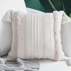Cream Pillows, Boho Throw Pillows, Boho Cushions, Cream Bedding, Tufted Couch, Couch Pillows, Large Pillow Cases, Large Pillows, Decorative Pillow Cases