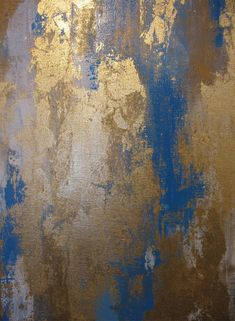 """24"""" x 24"""" Abstract Blue Gold White Painting - painted on high quality gallery wrapped canvas with gold leaf, signed and dated on the back and varnished with a protective gloss varnish."""