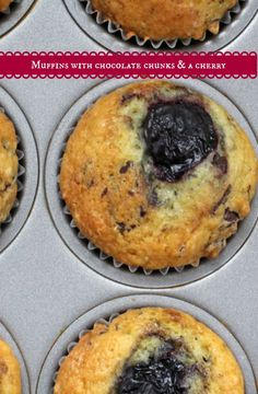 Sour Cream Muffins with Chocolate Chunks and a Cherry. Easy muffin template amped up with treats. #SRC | Mother Would Know