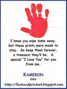 Hand print and Footprint Arts & Crafts: Fun, Easy Handprint Art with a Poem . Make for Father's Day or Grandparents Day Daycare Crafts, Baby Crafts, Toddler Crafts, Preschool Crafts, Crafts For Kids, Teach Preschool, Newborn Crafts, Preschool Readiness, Daycare Rooms