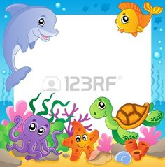 Royalty free clipart illustration of a frame of cute sea animals. This royalty-free cartoon styled clip art picture is available as a fine art print and poster. Clipart Frame Of Cute Sea Animals - Royalty Free Vector Illustration by visekart Frame Clipart, Free Vector Illustration, Illustrations, Underwater Animals, Under The Sea Theme, Class Decoration, Borders And Frames, Diy And Crafts, Pisces