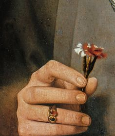 """Portrait of a Man with Carnation"" (detail), Jan van Eyck. Old Paintings, Jan Van Eyck Paintings, Classical Art, Detail Art, Renaissance Art, Old Art, Aesthetic Art, Art Inspo, Art History"