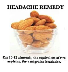 headache remedy: eat almonds, the equivalent of 2 aspirins, for a migraine. - headache remedy: eat almonds, the equivalent of 2 aspirins, for a migraine headache - Natural Headache Remedies, Natural Home Remedies, Natural Headache Relief, Migraine Relief, Migraine Remedy, Headache Cure, Anxiety Relief, Stress Relief, Pain Relief