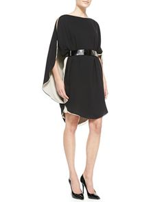 Combo+Layered+Cold-Shoulder+Dress+by+Halston+Heritage+at+Neiman+Marcus.