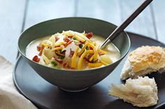 Slow-Cooker Loaded Baked Potato Soup Recipe - Kraft Recipes - per cup Crock Pot Slow Cooker, Crock Pot Cooking, Slow Cooker Recipes, Crockpot Recipes, Soup Recipes, Cooking Recipes, Recipies, What's Cooking, Family Recipes