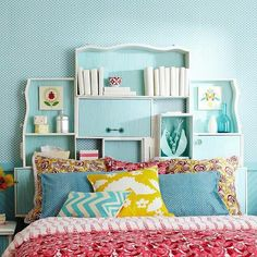 9a6dcce555f8f539c8929ccfaa147bb8; uses old dresser drawers as headboard to provide storage and interest.