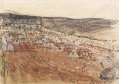 Joan Eardley RSA (British, 1921-1963) Sheep Eating Neeps, Nether Swanley Croft near Stonehaven 41.9 x 58.7 cm. (16 1/2 x 23 in.)