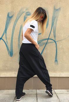 NEW Collection Loose Linen Black Harem Pants / by Silvisport
