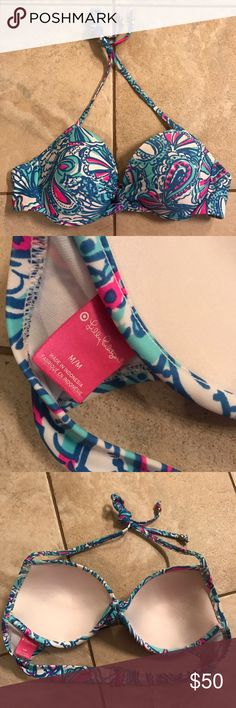 Lilly Pulitzer for Target My Fans Bathing Suit Top Excellent condition Lilly for Target My Fans Swim Top. Size Medium, adjustable closure in the back. This listing is for the top only, the bottoms pictured are not included. No trades.  Please do not discuss pricing in the comments! Lilly Pulitzer Swim