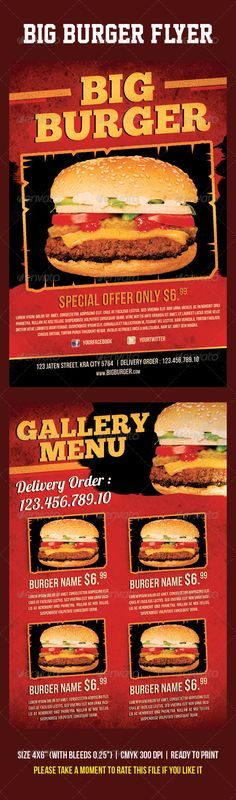 Burger King Flyer - graphicriver sale Burger Names, Burger Specials, Brochure Food, Big Burgers, Food Menu, Food Food, Restaurant Flyer, Print Templates, Hot Dog Buns