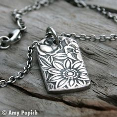 Fine Silver PMC Wildflower Tag Pendant Necklace. Floral Pattern Pendant. Embossed Flower Necklace. Sterling Silver Chain.