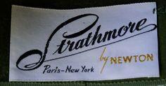 hat label Strathmore by Newton Paris~New York Hat New Paris, 1940s, Label, Vintage Fashion, New York, Tote Bag, Hats, New York City, Hat