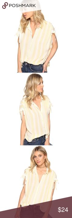 """Free People Baby Blues Top Easy, breezy stripe buttondown featuring a relaxed dip-dye design. Adjustable scrunched sleeve details. Super soft, lightweight fabrication. 💋💋Only 1 in stock!  100% Rayon Machine Wash Cold Import Bust : 46"""" = 116.84 cm Length: 24"""" = 60.96 cm Free People Tops"""