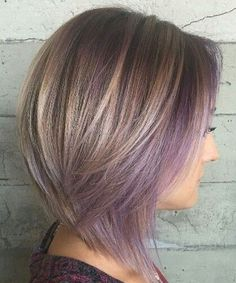 Incredible Purple Highlights to Short Layered Hairstyles for Women #CuteHairstylesForWomen