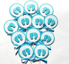 Children's Party Decorations – 10 Baby Shower Cupcake Toppers. Baby feet – a unique product by MagicalStart on DaWanda