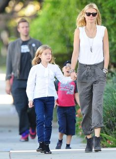 Gwyneth Paltrow , love her carefree style.  (Poor Moses is getting dissed back there!)