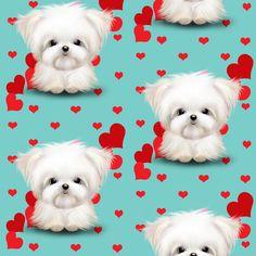 Maltese Aqua and red hearts fabric by catiacho on Spoonflower - custom fabric
