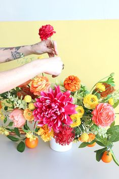 Faux Flower Wedding Centerpiece in Citrus-Hues. Wedding Reception Centerpieces, Diy Centerpieces, Wedding Flower Arrangements, Wedding Bouquets, Wedding Flowers, Faux Flowers, Artificial Flowers, Floral Wreath, Diy Projects