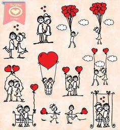 Téléchargement immédiat Boy Girl Couple amour ballon Doodle élément numérique Clip Art carte Scrapbook Label Design Tags aimants S34 Buy 1 Get 1 Free