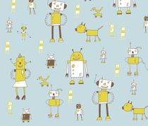 Robots! cute wrapping paper