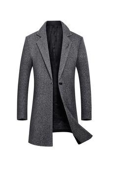 d4bcb8bc6ad Plain Mid-Length Slim One Button Mens Wool Coats coat mens fashion