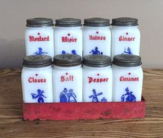8 Tipp City Spice Shakers Vintage Milk Glass with by AStringorTwo