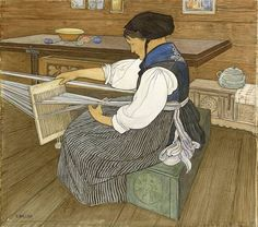 Image result for paintings and illustrations of women at loom weaving